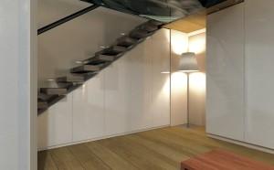 Schräger Schrank unter der Treppe