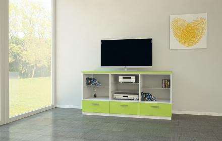 Audio Möbel im knalligen Grün